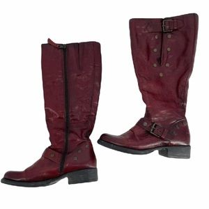 Browns Red studded leather knee boots rubber soles